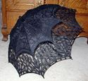 Picture of Black Cotton Battenberg Lace Parasol #2805