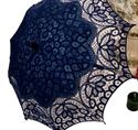 Picture of Royal Blue Cotton Battenberg Lace Parasol #2822