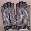 Picture of Fingerless Black Cotton Crocheted Lace Gloves #1306