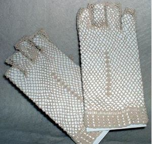 Picture of Fingerless Ivory Cotton Crocheted Lace Gloves #1307