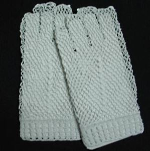 Picture of Fingerless White Cotton Crocheted Lace Gloves #1308