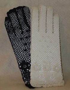 Picture of Ivory Cotton Crocheted Lace Gloves #1304