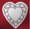 Picture of 6 Inch Heart Shaped Paper Lace Doilies #1639