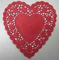 Picture of 6 Inch Heart Shaped Paper Lace Doilies #1643