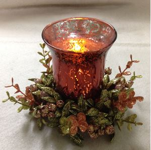 """Picture of Autumn Harvest 7"""" Candle Ring with Glass #3903"""