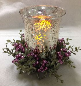 """Picture of Enchanted Amethyst 8"""" Candle Ring with Decorative Glass #3902"""
