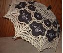 Picture of Gold and Black Embroidered Fabric and Battenberg Lace Parasol #2894