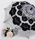 Picture of Silver and Black Embroidered Fabric and Battenberg Lace Parasol #2895